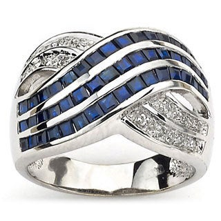 Diamonds for a Cure by Neda Behnam 14k White Gold Diamond Accent and Sapphire Ring