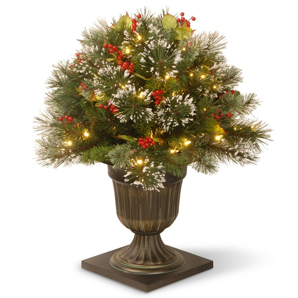 26 inch Wintry Pine Porch Bush with Clear Lights   16610225