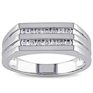 Miadora 10k White Gold 1/3ct TDW Diamond Men's 2-Row Ring (G-H, I1-I2)