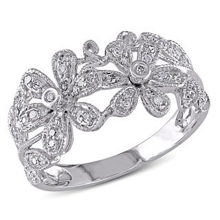Miadora 14k White Gold 1/4ct TDW Diamond Flower Ring (H-I, I1-I2)