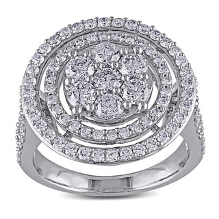 Miadora Signature Collection 14k White Gold 2ct TDW Diamond Engagement Ring (G-H, I1-I2) with Bonus Earrings