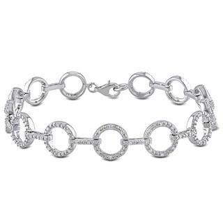 Miadora Sterling Silver 1/2ct TDW Diamond Link Bracelet (H-I, I2-I3) with Bonus Earrings