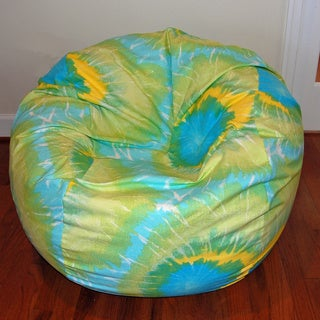 Ahh Products Lime Tie Dye Print Cotton Washable Bean Bag Chair