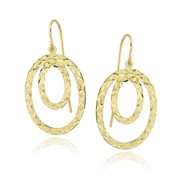 Mondevio 14k Yellow Gold Double Circle Dangle Earrings