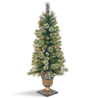 4-foot Glittery Pine Tree with Clear Lights