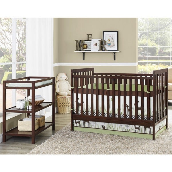 Baby Relax Ryder 2-in-1 Espresso Crib with Changing Table (Nursery In A Box)