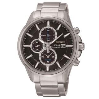 Seiko Men's SSC267 Solar Alarm Chronograph Black Dial Watch