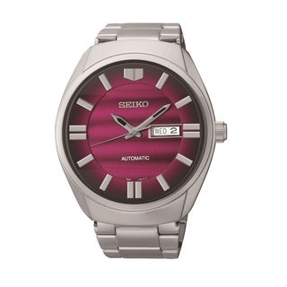 Seiko Men's SNKN05 Stainless Steel Automatic Maroon Dial Watch