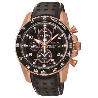 Seiko Men's SSC274 Rose Goldtone Stainless Steel Solar Alarm Chronograph Watch