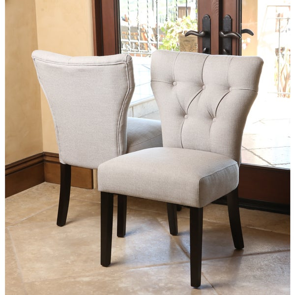 abbyson living bennet light grey fabric dining chairs set of 2