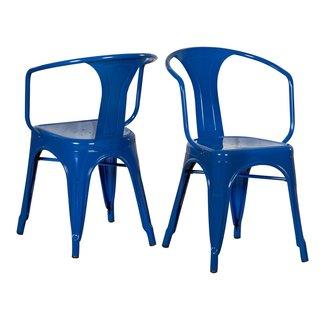Adeco Sheet Iron Tolix-Style Deck Deep Blue U Legs Dining Chairs (Set of 2)