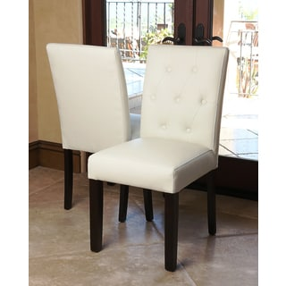 Abbyson Living Daniel Tufted Ivory Leather Dining Chair (Set of 2)
