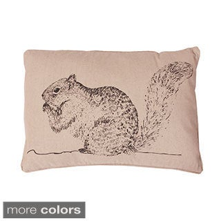 Squirrel Beaded Woodland Feather Filled Throw Pillow