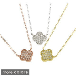 Eternally Haute Sterling Silver Pave Clover Necklace