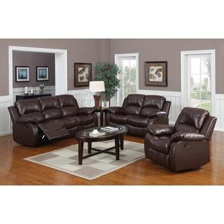 Vifah 3-piece Chocolate Brown Reclining Sofa Set