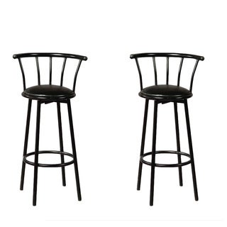 Vifah Black Metal Barstools w/Swivel (Set of 2)