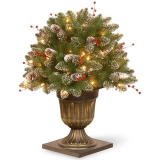 26-inch Glittery Mountain Spruce Porch Bush with Clear Lights