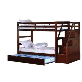 Vifah Twin Bunk bed with Twin Trundle & Drawer Steps-Espresso Finish