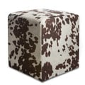 Brown Cowprint Textured Velvet Square Ottoman