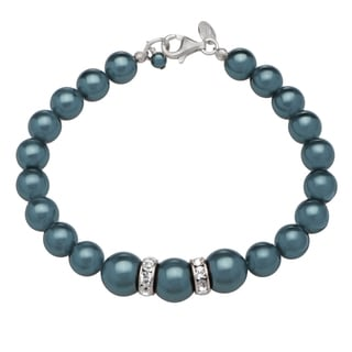 Kele & Co's Grey Pearl and Crystal Bracelet made in .925 sterling Silver and Lobster Closure