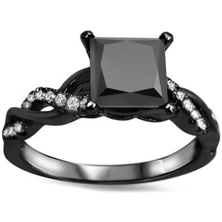 Noori 14k Black Gold 1 1/3ct TDW Black Princess-cut Diamond Engagement Ring (VVS1-VVS2)