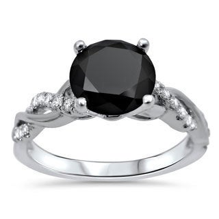14k White Gold 1 1/3ct TDW Certified Black Diamond Engagement Ring (VVS1-VVS2)