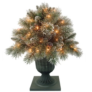 26-inch Glittery Bristle Porch Bush with Clear Lights