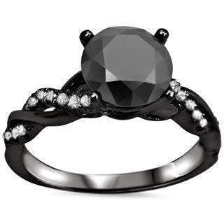 14k Black Gold 1 1/3ct Black Round-cut Diamond Engagement Ring (VVS1-VVS2)