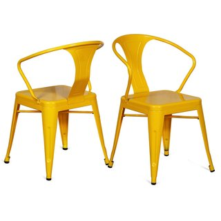 Adeco Sheet Iron Yellow Tolix-Style Deck Dining Chairs (Set of 2)