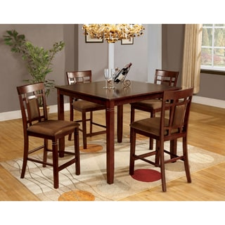 Furniture of America Mulani 5-Piece Dark Cherry Counter Height Set