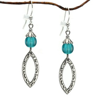 Jewelry by Dawn Turquoise Blue Glass Antique Pewter Marquis Dangle Earrings