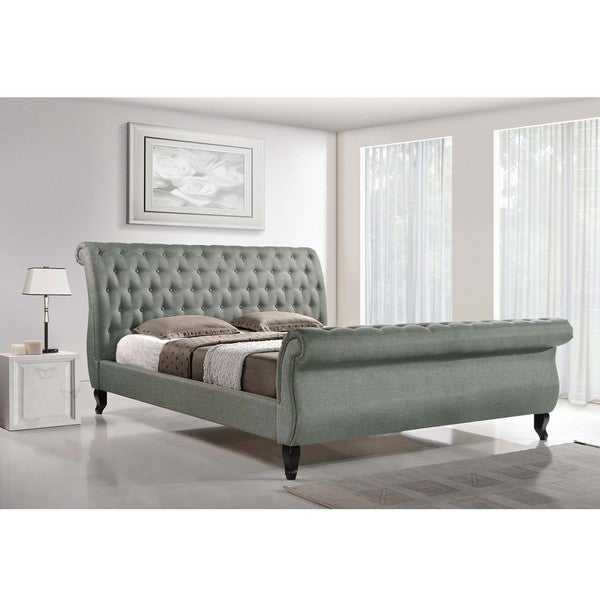 Baxton Studio Arran Grey Linen Platform Bed