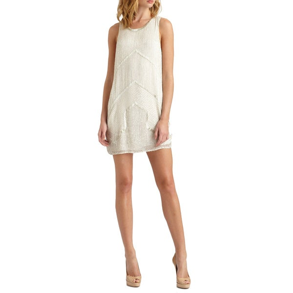 Parker Women's White Architect Beaded Geometric Shift Cocktail Dress