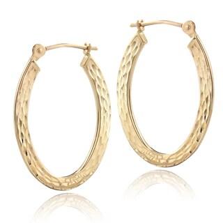Mondevio 14k Yellow Gold Hammered Hoop Earrings