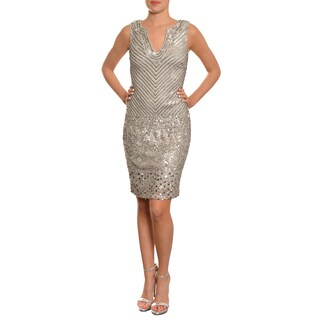 Aidan Mattox Women's Dove Grey Fully Sequin Cocktail Evening Party Dress