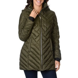 Nautica Women's Military Green Quilted Puffer Coat
