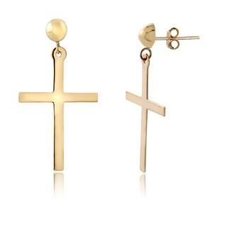 Mondevio 14k Yellow Gold Cross Dangle Earrings