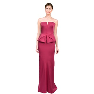 Rene Ruiz Women's Pink Strapless Peplum Evening Gown Dress