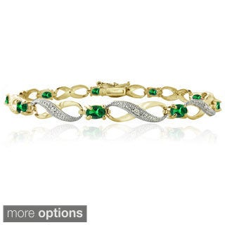 Glitzy Rocks Goldtone Created Gemstone and Diamond Accent Infinity Link Bracelet
