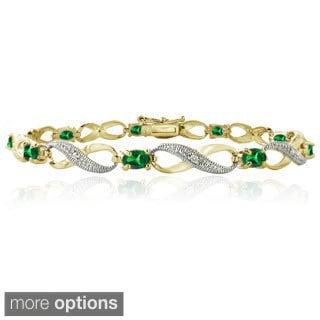 Glitzy Rocks Goldtone Created Gemstone and Diamond Accent Infinity Link Bracelet