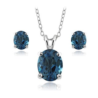 Glitzy Rocks Sterling Silver 4.5ct TGW London Blue Topaz Oval Solitaire Necklace and Earrings Set
