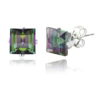 Glitzy Rocks Sterling Silver Green Mystic Topaz Square Stud Earrings