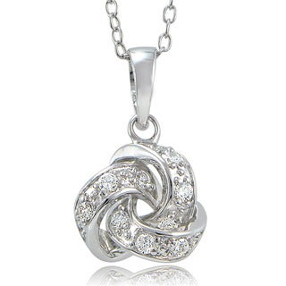 ICZ Stonez Sterling Silver Cubic Zirconia Love Knot Necklace