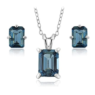 Glitzy Rocks Sterling Silver 4.3ct TGW London Blue Topaz Emerald-cut Necklace and Earrings Set