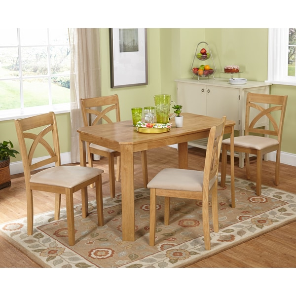 light oak finish dining table and elegant curved x back dining chairs