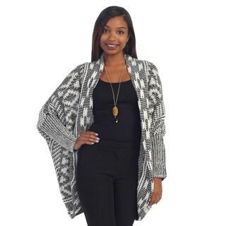 Hadari Women's Black/ Grey Open Knit Cardigan