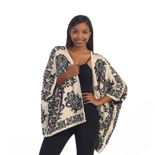 Hadari Women's Ivory/ Black Paisley Open Knit Cardigan
