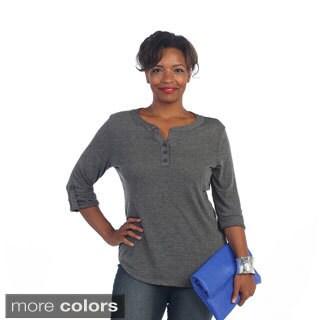 Hadari Women's Plus Size Casual Roll-up Sleeve Henley Top