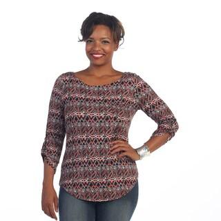 Hadari Women's Plus Size Paisley 3/4-sleeve Blouse