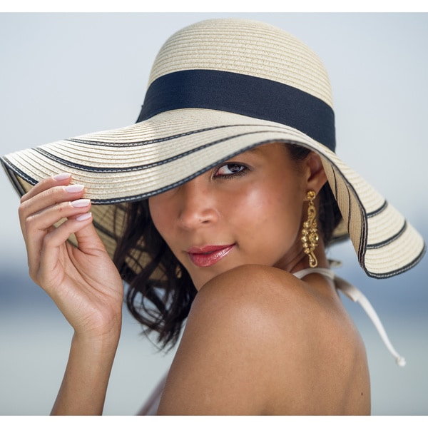 Beach Glam Women's Large Straw Striped Hat